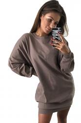 Womens Oversized Crew Neck Long Sleeve Plain Dress Coffee