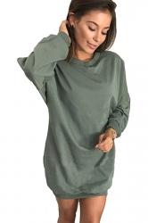 Womens Oversized Crew Neck Long Sleeve Plain Dress Green