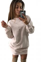 Womens Oversized Crew Neck Long Sleeve Plain Dress Pink