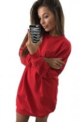 Womens Oversized Crew Neck Long Sleeve Plain Dress Red