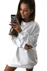Womens Oversized Crew Neck Long Sleeve Plain Dress White