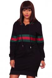 Womens Drawstring Side Slit Long Sleeve Striped Hoodie Dress Black