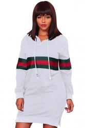 Womens Drawstring Side Slit Long Sleeve Striped Hoodie Dress White