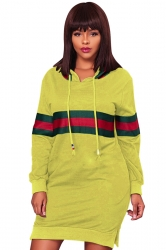 Womens Drawstring Side Slit Long Sleeve Striped Hoodie Dress Yellow