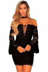 V-Neck Cross Lace Up Bell Sleeve Bodycon Back Zipper Tube Dress Black