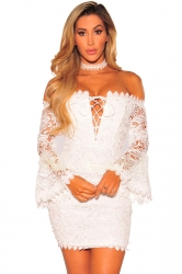 V-Neck Cross Lace Up Bell Sleeve Bodycon Back Zipper Tube Dress White