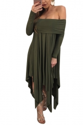 Womens Sexy Long Sleeve Oversized Asymmetrical Hem Tube Dress Gray