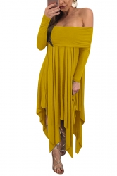 Womens Sexy Long Sleeve Oversized Asymmetrical Hem Tube Dress Yellow