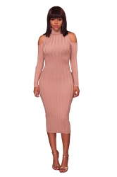 Womens High Collar Cold Shoulder Long Sleeve Midi Sweater Dress Pink