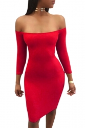 Womens Sexy Off Shoulder Lace Up Long Sleeve Clubwear Dress Red