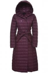 Womens Hooded Waist Tie Button Padded Plain Long Down Jacket Purple