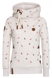 Womens Drawstring High Collar Long Sleeve Printed Hoodie Beige White
