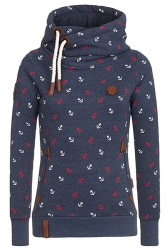 Womens Drawstring High Collar Long Sleeve Printed Hoodie Navy Blue