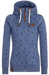 Womens Warm Drawstring Kangaroo Pocket Zipper Coat Printed Hoodie Blue