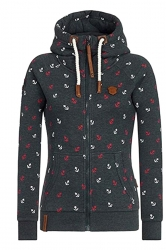 Womens Warm Drawstring Kangaroo Pocket Zipper Printed Hoodie Black