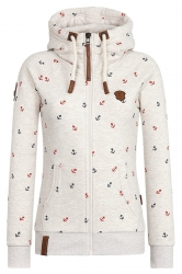 Womens Drawstring Kangaroo Pocket Zipper Printed Hoodie Beige White
