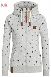 Womens Warm Drawstring Kangaroo Pocket Zipper Coat Printed Hoodie Gray