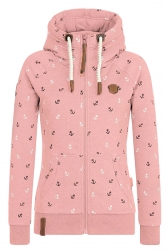 Womens Warm Drawstring Kangaroo Pocket Zipper Coat Printed Hoodie Pink