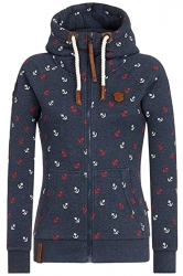 Womens Warm Drawstring Kangaroo Pocket Zipper Printed Hoodie Navy Blue