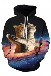 Womens Stylish Drawstring Galaxy Cat Printed Hoodie Brown