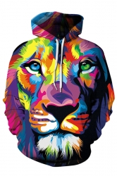 Women Kangaroo Pocket Drawstring Colorful Lion Printed Hoodie Burgundy