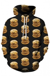 Womens Stylish Kangaroo Pocket Hamburger Printed Hoodie Dull Black