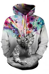 Womens Stylish Drawstring Head Full Of Dreams Printed Hoodie Gray