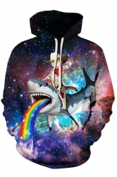 Womens Drawstring Kangaroo Pocket Galaxy Cat Shark Printed Hoodie