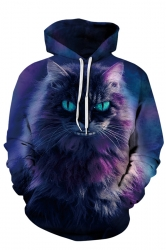 Womens Kangaroo Pocket Drawstring Cat Printed Hoodie Purple