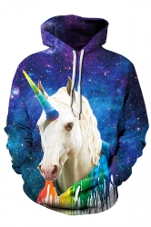 Womens Kangaroo Pocket Galaxy Unicorn Printed Hoodie Sapphire Blue