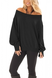 Womens Sexy Off Shoulder Bishop Sleeve Plain Sweatshirt Black