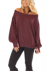 Womens Sexy Off Shoulder Bishop Sleeve Plain Sweatshirt Ruby