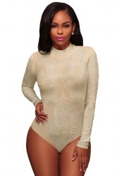 Womens Sexy Long Sleeve Crew Neck Sheer Rhinestone Bodysuit White
