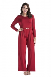 Womens Oversized Crew Neck Open Back Belt Drawstring Jumpsuit Red