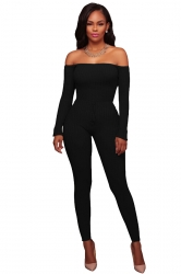 Womens Off Shoulder Close-Fitting Ribbed?Knit?Sweater Jumpsuit Black