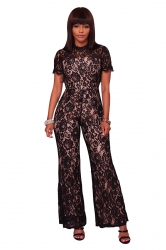 Womens Short Sleeve Backless Mesh Lace Wide Legs Long Jumpsuit Black