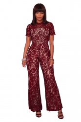 Womens Short Sleeve Backless Mesh Lace Wide Legs Long Jumpsuit Ruby