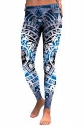 Womens Elastic Skinny Ankle Length Sports Skull Printed Leggings Blue