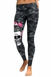 Womens Skinny Ankle Length Sports Skull Printed Leggings Dark Gray