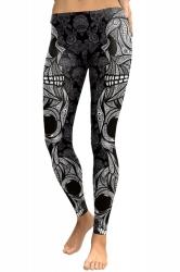 Womens Elastic Skinny Ankle Length Sports Skull Printed Leggings Gray