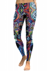 Womens Skinny Ankle Length Sports Lion Printed Leggings Multicolour