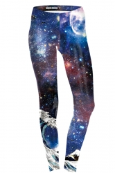 Womens Skinny Ankle Length Sport Galaxy Printed Leggings Sapphire Blue