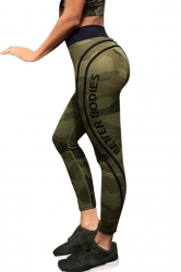 Womens High Waist Letter Printed Skinny Sports Yoga Legging Army Green
