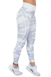 Womens Sexy High Waist Letter Printed Skinny Sports Yoga Legging White