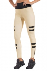 Womens Elasitc High Waist Color Block Skinny Sports Yoga Legging Khaki