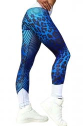 Womens High Waist Leopard Printed Stripe Skinny Sports Legging Blue