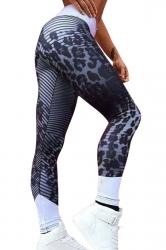 Womens High Waist Leopard Printed Stripe Skinny Sports Legging Black