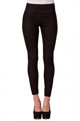 Womens High Waist Skinny Back Zipper Plain Pencil Leisure Pants Black