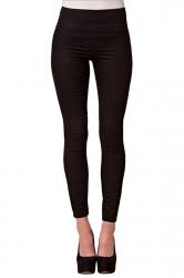 Womens High Waist Skinny Back Zipper Plain Pencil Leisure Pants Black