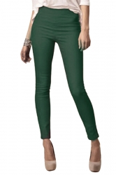 Womens High Waist Skinny Back Zipper Plain Pencil Leisure Pants Green
